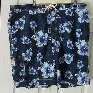CHAPS Men's Flora swimsuit Trunk Bathing suit